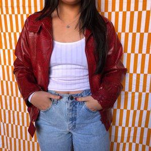 Vintage Red pleather snakeskin jacket